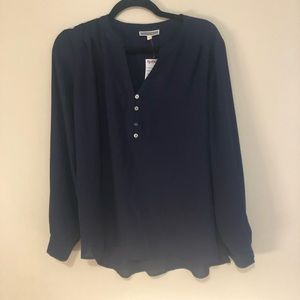 Pleione (L) navy blue long sleeved blouse